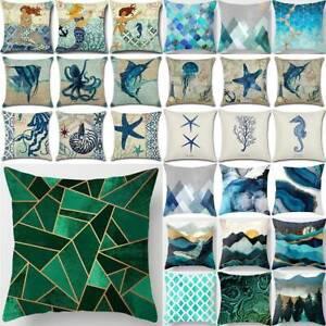 Marine Life Blue Pillow Case Abstract Art Nature Print Cushion Cover Sofa Decor