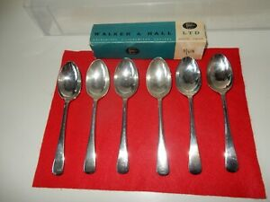 Vintage Walker and Hall English Silver Plated set of 6 Dessert Spoons