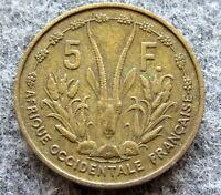 FRENCH WEST AFRICA 1956 5 FRANCS FCFA, MARIANNE & GAZELLE