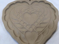 Vintage Brown Bag Cookie Art 1988 Country Heart Stamp Mold Baking Stoneware