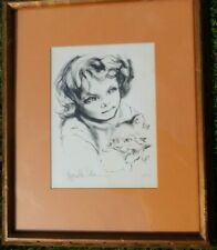 HYACINTHE KULLER PENCIL SIGN LITHOGRAPH BOY WITH CAT