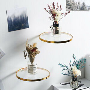 Nordic Circular Wall Hanging Metal and Glass Storage Shelf Shelves Wall Rack