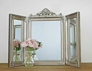 Antique Silver Mirror Free Standing Dressing Table Shabby Chic Trifold Vanity