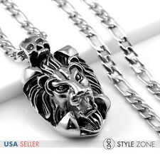Men Stainless Steel Casting Gothic Lion Pendant w Figaro Link Chain Necklace Q20
