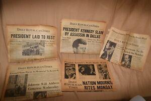 Lot Of  5 Daily Times Ottawa Illinois Newspapers Kennedy Assassination 1963
