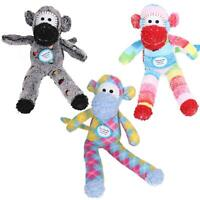Super Plush Soft Spotty Sock Monkey Dog Toy With Squeak7x9x30cm