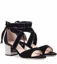 VALENTINO Black Velvet  Chunk Metal Mirrored  Heel Ankle Strap Sandals Sz 37