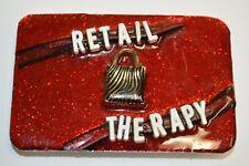 "NICE Handmade Custom ""RETAIL THERAPY"" Nordstrom's Women's Red Metal Belt Buckle"