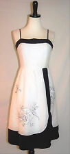 BCBG MAXAZRIA SPRING DRESS FLORAL EMBROIDERED BLK & WHITE Sz 6  $198