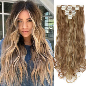 Extra Long Hairpieces 18 Clips in Hair Extensions 8 Pcs Wavy Ash Blonde As Human