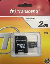 2GB Micro SD Speicherkarte + SD SDHC Adapter Transcend 2 GB NEUWARE