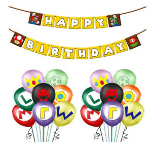 Super Mario Banner Balloons Buntings Garlands Happy Birthday Party Decorations