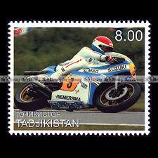 ★ WILL HARTOG (500 SUZUKI) ★ TADJIKISTAN Timbre Poste Moto Motorcycle Stamp #343