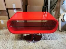 TECHLINK OPOD80B TV Stand Curve TV Stand With Glass Shelf (RED) with Chrome Base