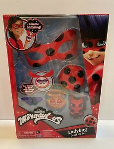Miraculous Ladybug Dress Up Set w/ Ladybug Mask Clipon Earrings YoYo Akuma NEW