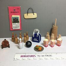 Lot Miniatures Bowling Bowl, Case and Pins, Butter Churn, Milk bottles 1:12 (17M