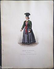 COSTUME Autriche Hongrie Suisse Gravure Originale 19e Aquarellée Pelcoq Morse 16