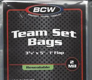 """25 BCW TEAM SET POLY BAGS (3 3/8"""" x 5"""" + 1"""" LIP) - TRADING CARD, ARCHIVAL - NEW"""