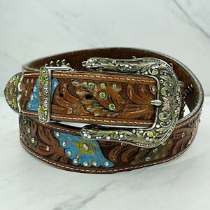 Brown Genuine Leather Studded Floral Colorful Rhinestone Belt Size XXL 42
