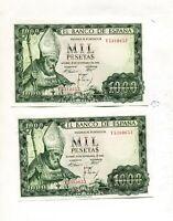 LOTE 2 BILLETES 1000 PESETAS 1965 CORRELATIVOS PAREJA SC los 2 de la foto