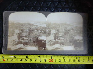 Antique Stereoscope Photograph Cape Garrison Artillery 1900 Modder River Boer Wa