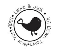 Custom Personalized business return address name rubber stamp bird