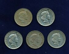 SWITZERLAND  REPUBLIC   1893-1988  1 to 10 RAPPEN COINS, GROUP LOT OF (14) COINS