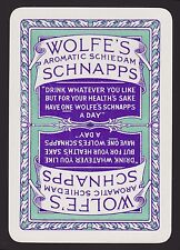 1 Single VINTAGE Playing/Swap Card OLD WIDE ADV WOLFE'S AROMATIC SCHNAPPS Purple