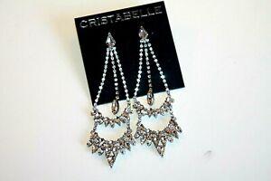 Cristabelle Earrings silver plated crystal chandelier statement   women's