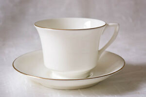 Royal Worcester Strathmore Demitasse Cup and Saucer White, gold accents