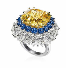 23ct Cz 925 Sterling Silver Yellow Cushion Fancy Halo Cocktail Party Ring Women