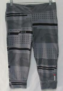 REEBOK Women's Gray Geometric Nylon Blend Athletic Capri Leggings Size Large
