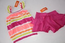 Gymboree Bright and Beachy Girls Size 5 Stripe Top Shirt Frilly Shorts  NWT