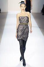 MONIQUE LHUILLIER $3,905 strapless dark metallic beaded ruched mini dress XS NEW