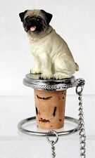 PUG Fawn Brown Dog Hand Painted Resin Figurine Wine Bottle Stopper
