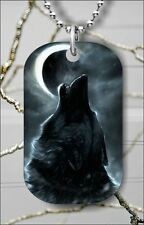 WOLF HOWL AT THE MOON DOG TAG NECKLACE PENDANT FREE CHAIN -ghb6Z