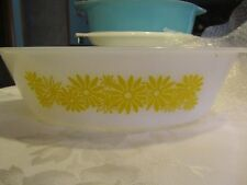 """Vintage Oval casserole dish white with yellow flowers 11.5"""" x 7.5"""" -  CAS"""