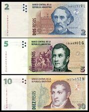 ARGENTINA SET OF 3 PCS  2 5 10 PESOS 2012 UNCIRCULATED P.352 353 354