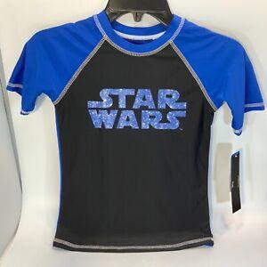 Boys Star Wars Short Sleeve Rash Guard Swim Shirt Blue & Black