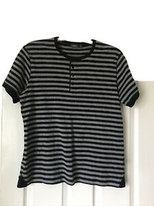 Mens Mexx T Shirt Size L Black and Grey Stripes Short Sleeved Warm 100% Cotton