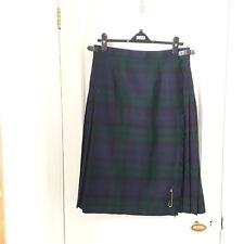 PRINGLE Weavers Tartan Kilt Navy Blue Green Wool skirt Pin Sz 14 Made Scotland