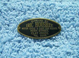 VINTAGE 1960s ERIC HOUSELEY MOTORCYCLE/CAR DASH PLAQUE-OLD TT RIDER GARAGE BADGE