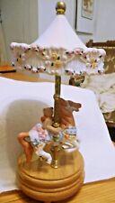 Vintage Carousel Willitts Porcelain Horse w/ Bear Music Box Umbrella