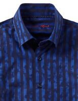 Visconti Men's Stripe Camo Blue & Black Long-Sleeve Button Up Woven Shirt #3781