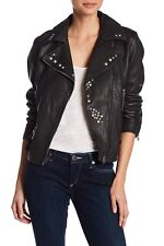 True Religion $599 Women's Studded Leather Moto Jacket/Coat - WSQBJ5BH6