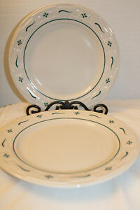 """LONGABERGER  LOT OF 2 DINNER PLATES, WOVEN TRADITIONS GREEN,  USA POTTERY, 10"""""""
