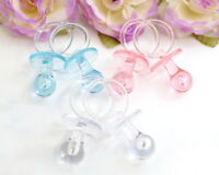 """36PC Baby Shower Acrylic Pacifier Games Favors Decoration 2.5"""" Pink Blue Clear"""