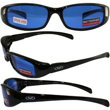 New Attitude Global Vision Motorcycle Glasses with Blue Lenses and Black Frame