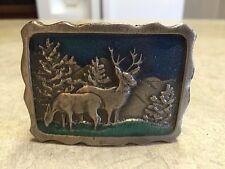 Vintage Belt Buckle Buck & Doe Deer In Mountains Colorized Never Worn 1970'S