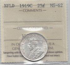 *1919c*, Iccs Graded, Newfoundland Twenty-five Cent, *Ms-62*